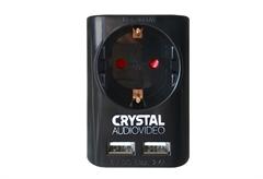 ΑΝΤΑΠΤΟΡΑΣ ΡΕΥΜΑΤΟΣ CRYSTAL AUDIO ΜΕ USB ΜΑΥΡΟΣ