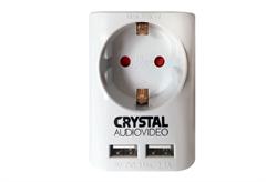 ΑΝΤΑΠΤΟΡΑΣ ΡΕΥΜΑΤΟΣ CRYSTAL AUDIO ΜΕ USB ΛΕΥΚΟΣ