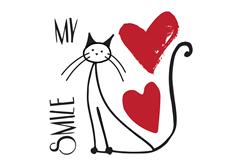 ΑΥΤΟΚΟΛΛΗΤΟ ΤΟΙΧΟΥ ΦΡΑΣΗ LOVE & CATS